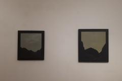 "9. Marco Neri, ""Senza titolo I e II"", 1991, acrilico su tela e cornice dipinta a tempera, a sinistra 84x74 cm, a destra 94x84 cm."